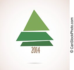 christmas card with abstract tree for 2014