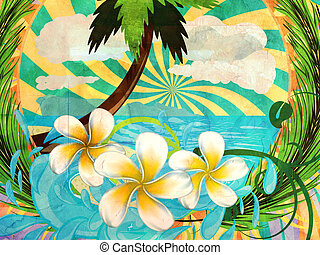Grunge tropic island - Sunny tropical island with palm tree...