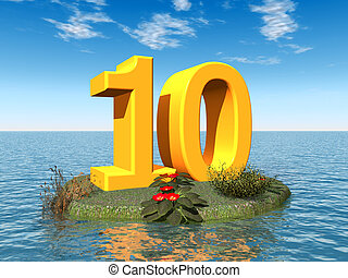 The Number 10 - Computer generated 3D illustration with the...