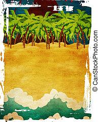 Grunge volcano island - Grunge background with cartoon...