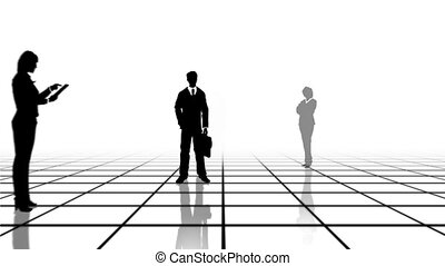 Grid with business people - Computer generated animation of...