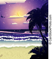 Night beach - Tropical beach at night and crescent moon in...
