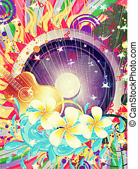 Tropical music party - Abstract colorful tropical musical...