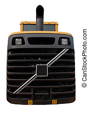 bulldozer close up isolated - bulldozer close up view of...