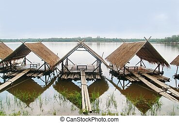 Straw hut in water ,Huey Tueng Tao lake, Chiang Mai,...