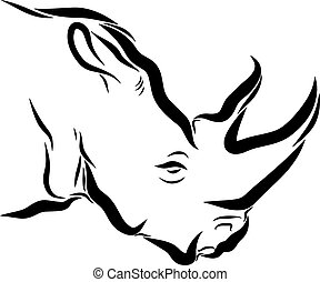 Rhinoceros Line Art - Line art drawing illustration of a...