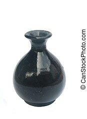 black ceramic vase isolated