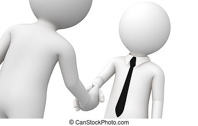 3d business shake hand - represent help or joint in business