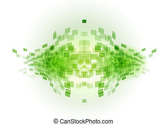 green abstract fish - small squares in the abstract shape