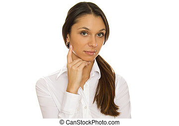 Businesswoman - Business woman standing sideways, arms...