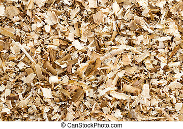 Wood shavings - Background of the golden curls from teak...
