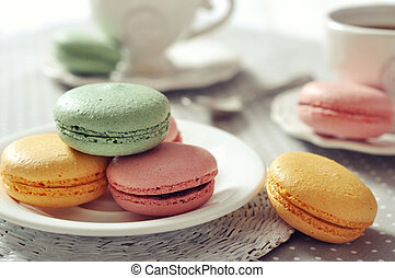 Sweet macaroons - Traditional french pastry - macaroon with...