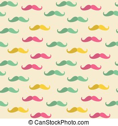 Seamless mustache pattern - Seamless pattern with hipster...