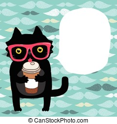 cartoon doodle cat in hipster glasses with coffee - cute...