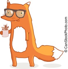 Cute hipster fox wearing glasses with coffee - Cute cartoon...