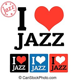 I love Jazz sign and labels