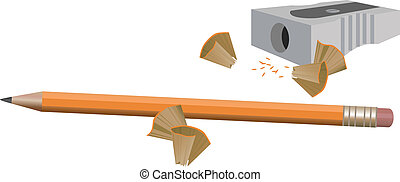 Pencil and Sharpener - Illustration with a pencil and a...