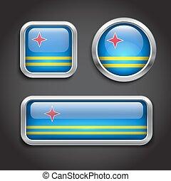 Aruba flag glass buttons - Set of Aruba flag glass buttons