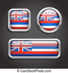 Hawaii  flag glass buttons