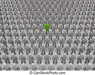 Unique person in crowd. - Unique person in crowd. Concept 3D...