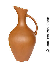 Pitcher of clay - Clay jug with a narrow neck liquid...