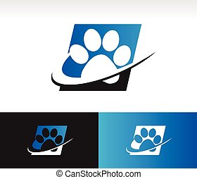 Swoosh Animal Paw Icon - Animal paw icon with swoosh graphic...
