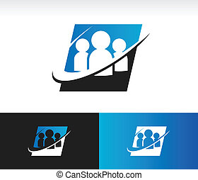 Swoosh Group People Icon - Set of people icon with swoosh...