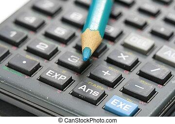 藍色, 木制, 計算器, 鉛筆