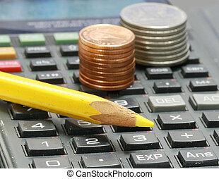 鉛筆, 計算器, 硬幣, 黃色
