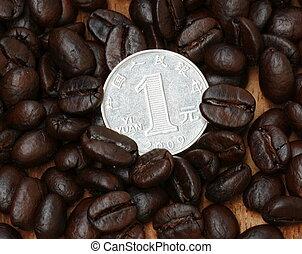 1 yuan coin on coffee bean