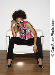 Vintage style woman - Woman with afro wearing vintage print...