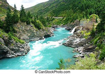 Kawarau river and forest ,Queenstown, New Zealand