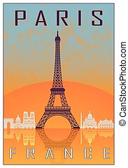 Paris vintage poster in orange and blue textured background...