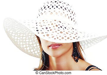 Beautiful Brunette Girl with Hat. Fashion Model Girl Portrait. B