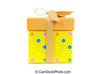 Yellow fancy box on a white background