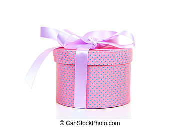 Round fancy box on a white background
