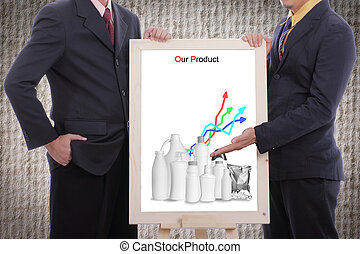 Businessman discuss and show our product to customer with...