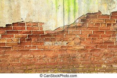 old ruin brick concrete wall