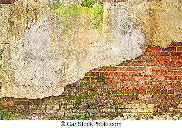 old ruin brick concrete wall