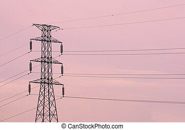 Electricity pylons with pink sky, sunset