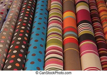 Rolls of textile - Cotton on rolls in modern Provencal...