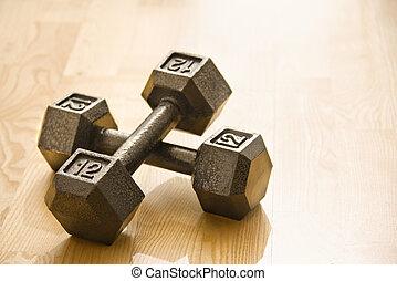 Fitness equipment - Twelve pound hand weights still life.