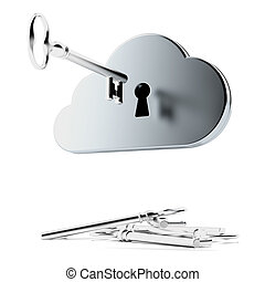 Cloud security isolated on a white background 3d render