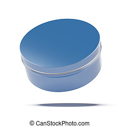 Blue metal jar isolated on a white background. 3d render