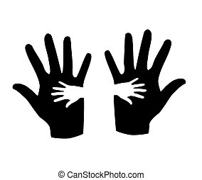 Black and white hands silhouette. - Black and white hands...