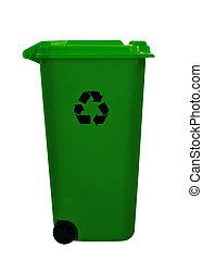 Green wheely aka wheelie bin, isolated over white - UK...