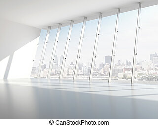 Hall with windows. 3d render