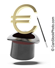 Sign of euro in a cylinder