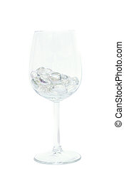 Isolated Sparkling Wine Glass - Sparkling stones in a wine...