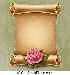 Scroll paper - Vertical old scroll paper with beautiful rose...